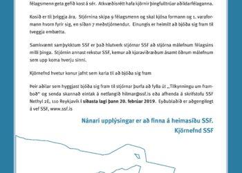 FRAMBOÐ TIL STJÓRNAR – Framboðsfrestur til 20. feb.